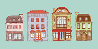 Vector coloured set of contour sketch illustration of vintage European homes. Kit shops and cafes of the old city. Buildings. Cartoon ancient architectural vector illustration