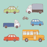 Vector coloured set of sketch illustration vintage trucks and cars. Yellow school bus, commercial vehicles and private. Automobiles. Painted freehand doodle Royalty Free Stock Photography