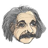 Portrait of Albert Einstein. Vector, coloured, sketch, hand drawn image of Albert Einstein stock illustration