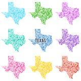 Vector colourful dotted map of the state of Texas. Set of different color solutions Royalty Free Stock Images