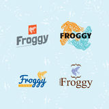 Vector colourful logo set with Frog. Royalty Free Stock Images