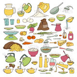 Vector colourful sketch collection set of food products, beverages and kitchen utensils. Brew tea and coffee, cooking pasta, pour Royalty Free Stock Photos