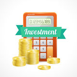 Vector columns of gold coins with calculator. Vector illustration  columns of gold coins with calculator  on white Stock Photo