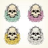 Vector común del cráneo y de las flores Imagenes de archivo