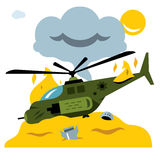 Vector Combat helicopter crash. Flat style colorful Cartoon illustration. The remains of the burning copter. Isolated on a white background Royalty Free Stock Photography