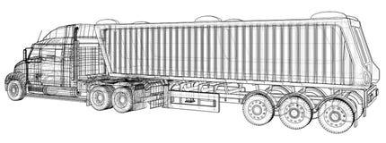 Vector comercial del camión del cargo de la entrega para la identidad de marca y publicidad aislada Ejemplo creado de 3d alambre libre illustration