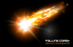 Vector comet, fireball or meteor glow abstract background. Bright falling flash on black space Stock Photography