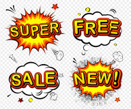Vector comic badges - super, free, sale and new. Royalty Free Stock Image