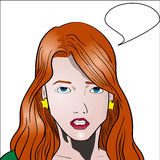 Vector comic book style woman talking Royalty Free Stock Photos