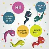 Vector comic bubbles worm  cartoon Royalty Free Stock Photos