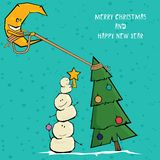 Vector comic cartoon merry christmas illustration Royalty Free Stock Photos