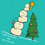 Vector comic cartoon merry christmas illustration Stock Photos