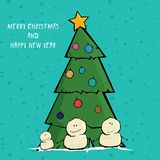 Vector comic cartoon merry christmas illustration Royalty Free Stock Image