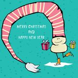 Vector comic cartoon merry christmas illustration Stock Photo