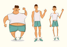 Vector comic character in a different forms. Set of cartoon style illustrations. Man with excess weight, in normal shape and with. Underweight Stock Photos