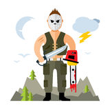 Vector Comic Crazy maniac. Halloween Scene. Flat style colorful Cartoon illustration. A man in a mask with holes holding a machete and a chainsaw.  on a white Stock Photos