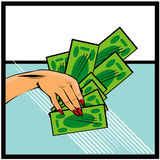 Vector comic female hand with cash money Hand with money on pop Royalty Free Stock Photo