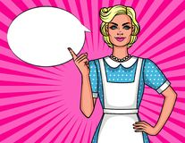 Vector comic pop art style illustration of pretty cute housewife pointing finger up. Poster 50s of Young smiling woman in apron Stock Illustration
