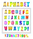 Vector comic retro pop art font set. Vector pop art font set. Alphabet letters and numbers in retro comic book style. Cartoon typography collection Royalty Free Stock Photo