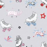 Vector Comic Roller Skates seamless pattern background. stock illustration