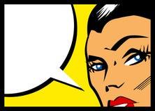 Vector comic woman with speech bubble. Girl speech illustration Stock Photo