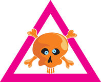 Vector. Comical skull. With bones. Warning sign Stock Photography
