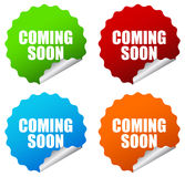 Vector coming soon curled stickers Stock Images