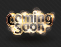 Vector coming soon sign in gold text. Shining gold text effect for a vector coming soon sign stock illustration