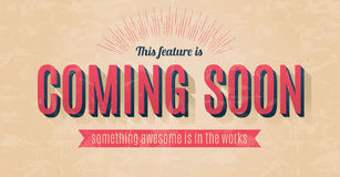 Vector coming soon sign. Retro text effect for a vector coming soon sign Stock Photos