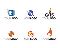 Vector commerciële merken en emblemen Stock Foto's