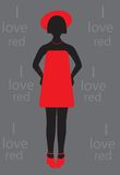 Vector commercial background with girl silhouette Stock Photos
