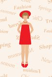 Vector commercial background with girl silhouette Stock Image