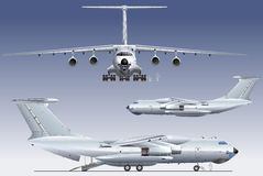 Vector Commercial freighter. Vector detailed illustration commercial freighter IL-76. Available AI-10 vector format separated by groups and layers for easy edit Stock Photo