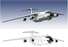 Vector Commercial freighter IL-76 Royalty Free Stock Photos