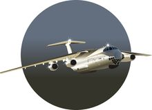 Vector Commercial freighter IL-76. Vector detailed illustration commercial freighter. Available Corel Draw - 9 vector format Stock Image