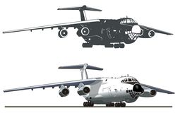 Vector Commercial freighter IL-76. Vector detailed illustration commercial freighter Ilyushin Il-76. Available AI-10 vector format separated by groups and layers Royalty Free Stock Images