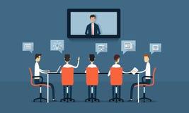 Vector commerciële online conferentie en vergaderingsuitwisseling van ideeën Royalty-vrije Stock Afbeelding