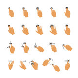 Vector common touchscreen hand gestures set Royalty Free Stock Image