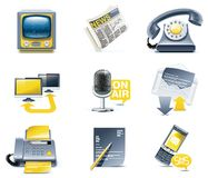 Vector communication icon set. Media Stock Images