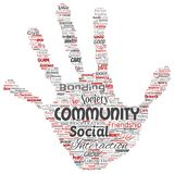 Vector community, social, connection hand print royalty free illustration