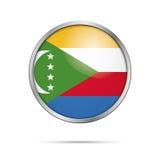 Vector Comoran flag button. Comoros flag in glass button style. Stock Image