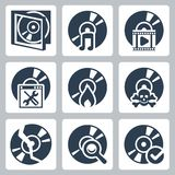 Vector compact disk icons set Royalty Free Stock Photos