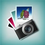 Photo camera with snapshots Royalty Free Stock Photography