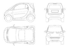 Vector compact smart car in outline. Small Compact Hybrid Vehicle. Stock Images