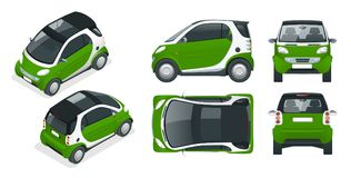 Vector compact smart car. Small Compact Hybrid Vehicle. Royalty Free Stock Photo