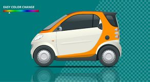 Vector compact smart car. Small Compact Hybrid Vehicle. Stock Photo