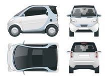 Vector compact smart car. Small Compact Hybrid Vehicle.  Stock Image