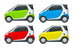 Vector compacte slimme auto Klein Compact Hybride Voertuig royalty-vrije illustratie