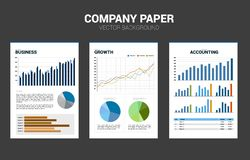 Vector Company document paper with multiple graph. royalty free illustration
