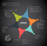Vector Company infographic overview design template. With colorful arrows and icons - dark version Royalty Free Stock Photography